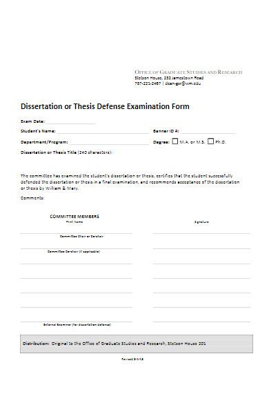 defense examination form