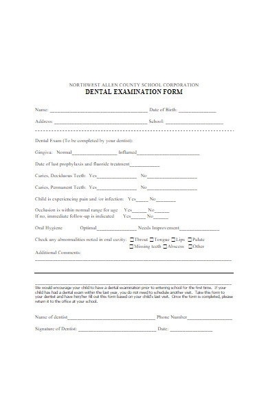 dental examination form
