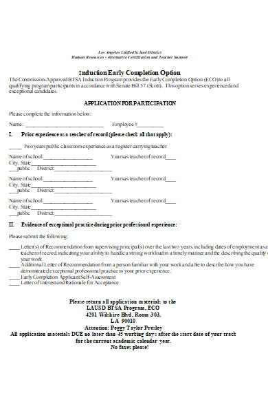 early completion option form