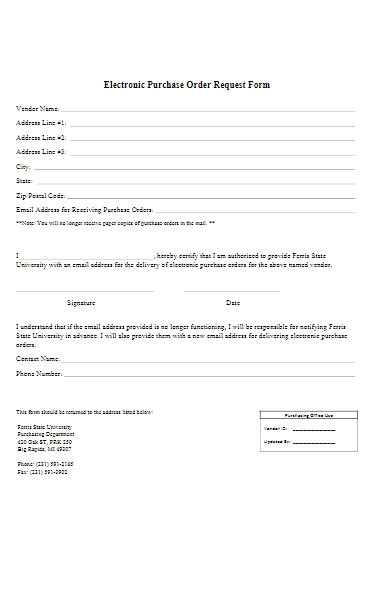 electronic purchase order request forms