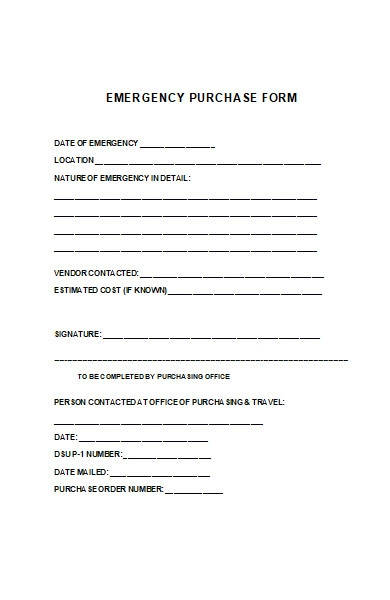 emergency purchase form