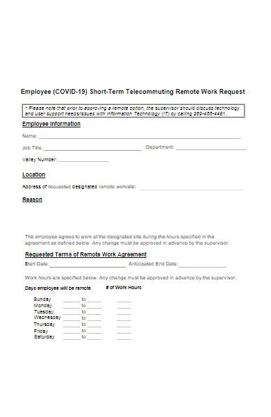 employee remote work request form