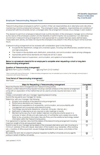 employee telecommuting work from home request form