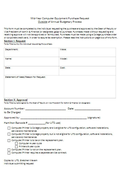 equipment purchase request form