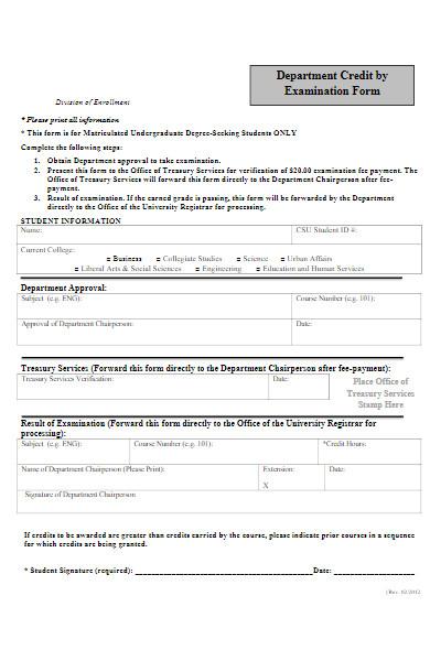 examination enrollment form