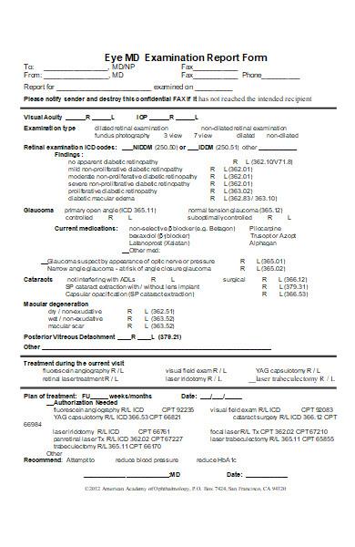 eye examination report form