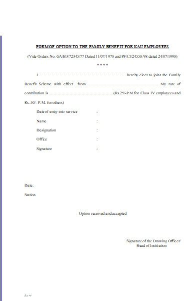 family benefit option form