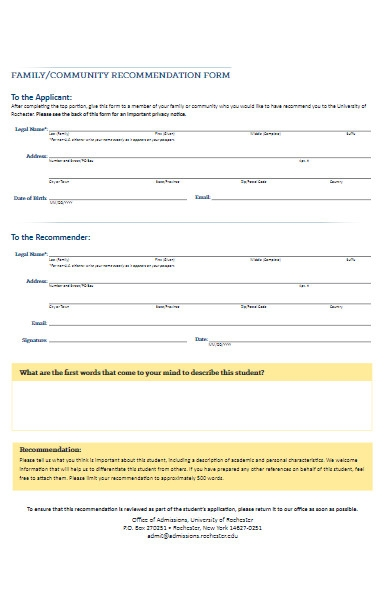 family community recommendation form