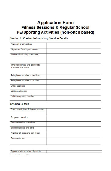 fitness activities application form