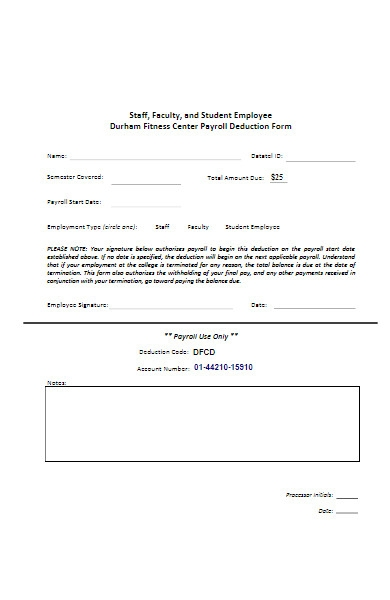 fitness center payroll deduction form