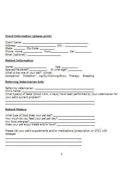 fitness examination form