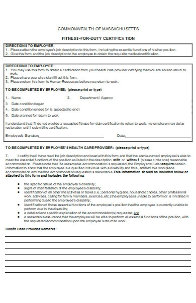 fitness form for duty certification in doc