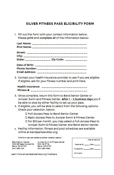 fitness pass eligibility form