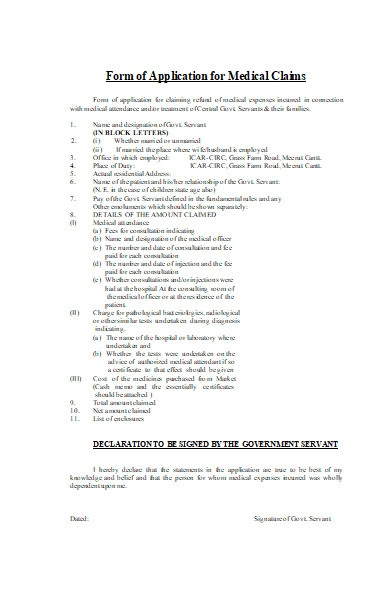 form of application for medical claims1