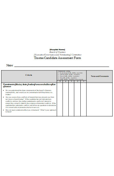 hospital candidate assessment form