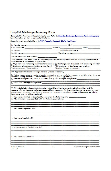 hospital discharge summary form