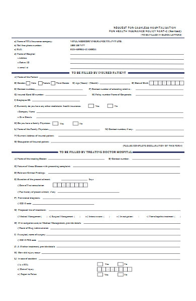 hospital pre authorisation form