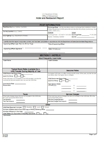 hotel and restaurant report form