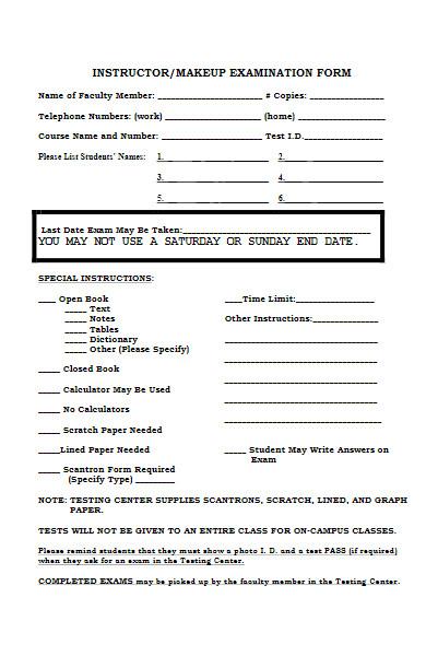 instructor examination form