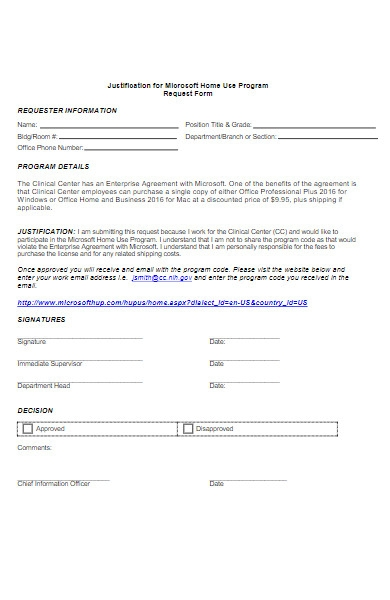 justification for work from home request form