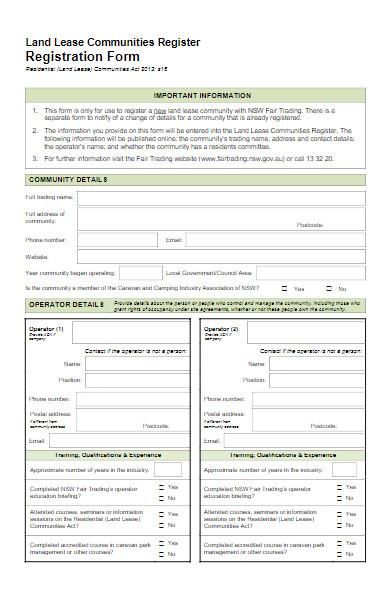 land lease communities registration form