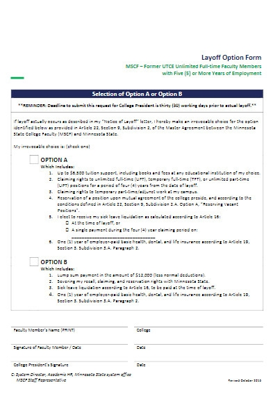 layoff option form