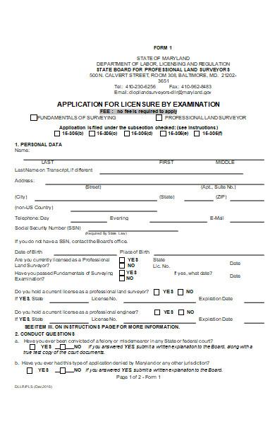 licensure examination application form