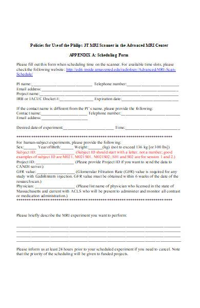 medical schedule form