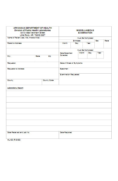 miscellaneous examination form