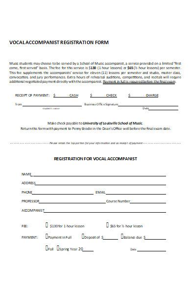 music accompanist registration form