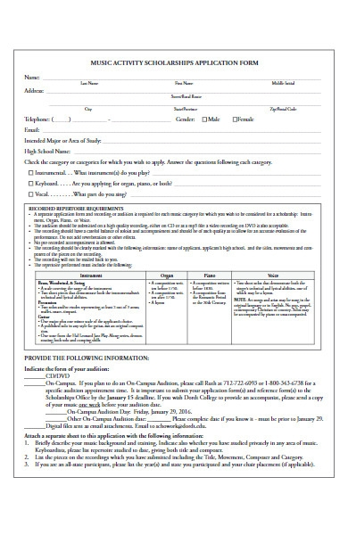 music activity scholarships application form