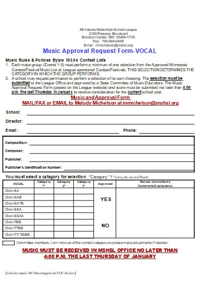 music approval request form