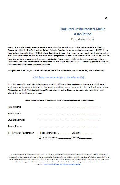 music association donation form