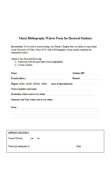music bibliography waiver form