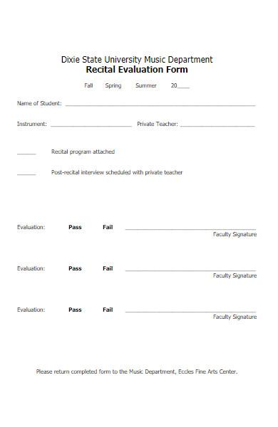 music department recital evaluation form