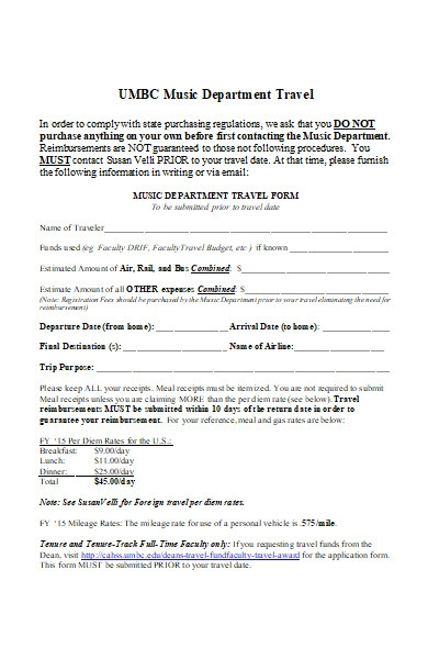 music department travel form