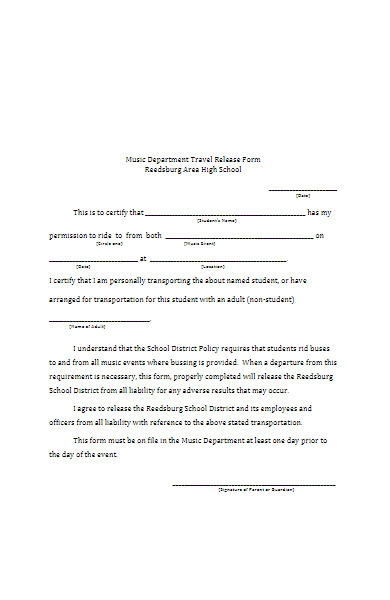 music department travel release form