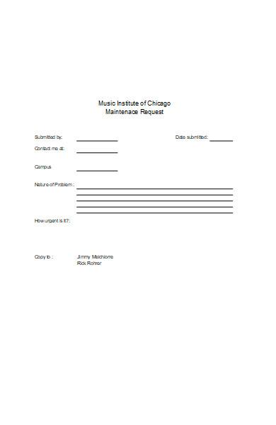 music institute maintenance request form