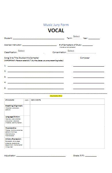 music jury form