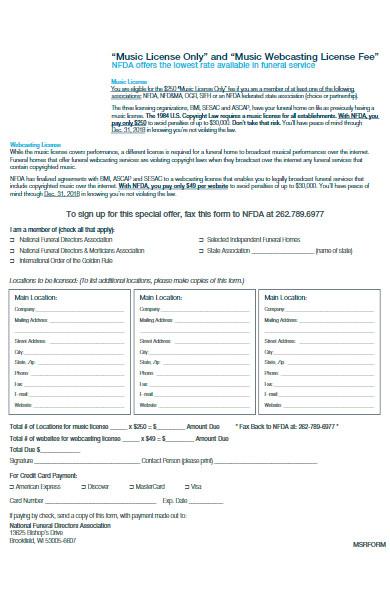 music license form
