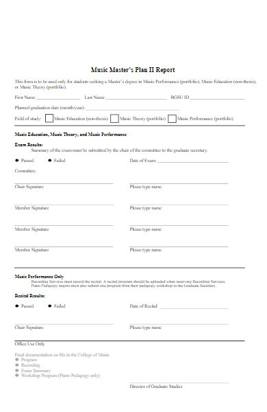 music masters plan form