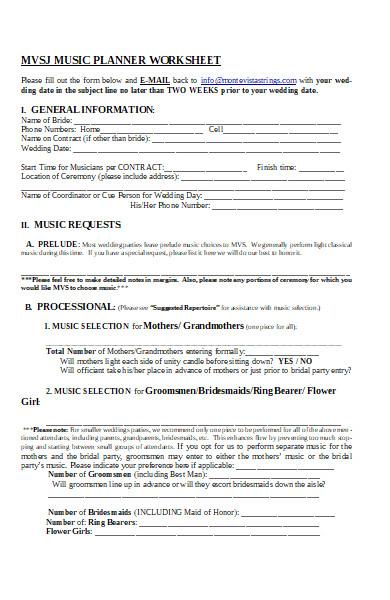 music planner worksheet form