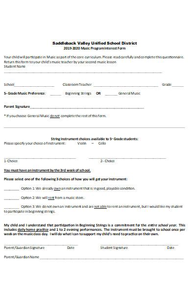 music program interest form