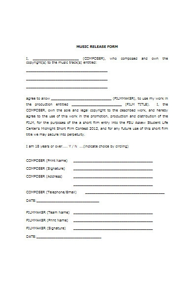 music release form example