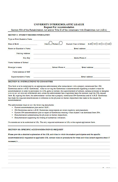 music request form for accommodation