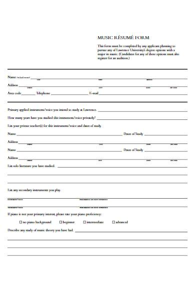 music resume form