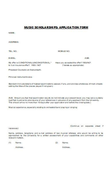 music scholarship application form
