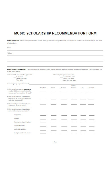 music scholarship recommendation form