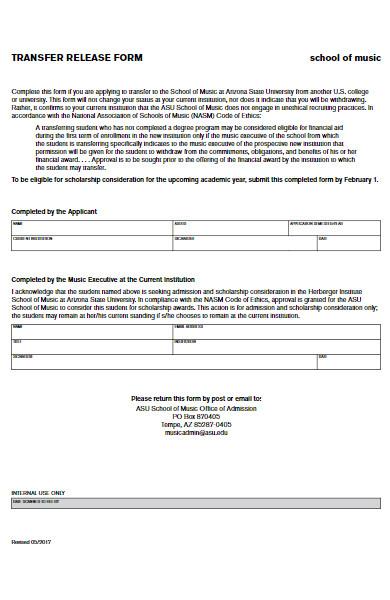 music school transfer release form