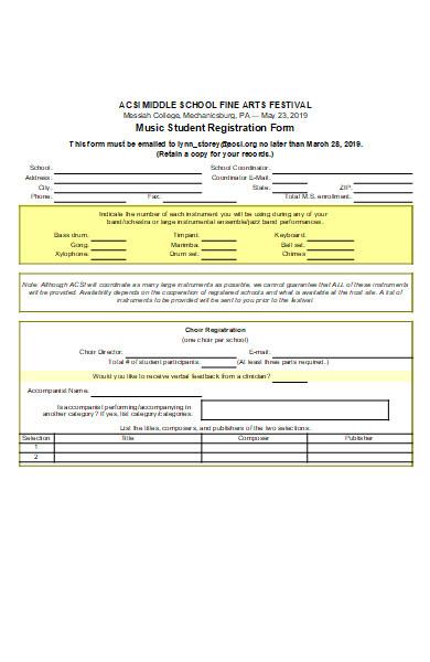 music student registration form